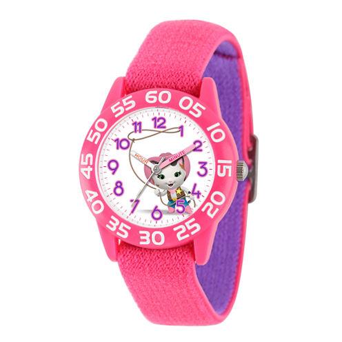 Disney Girls Pink and White Sheriff Callie Time Teacher Strap Watch W003080