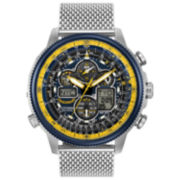 Citizen® Eco-Drive Mens Stainless Steel Blue Angels Navihawk A-T Watch Jy8031-56L