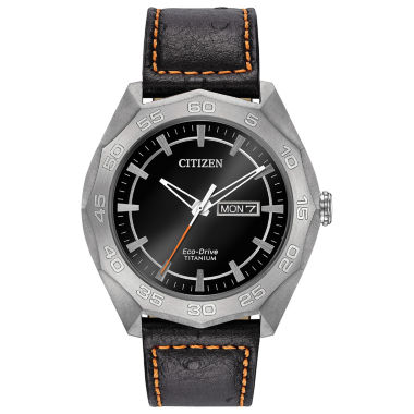 jcpenney.com | Citizen® Eco-Drive Men's Titanium Watch With Black Leather Strap Aw0060-03E