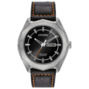 Citizen® Eco-Drive Men's Titanium Watch With Black Leather Strap Aw0060-03E