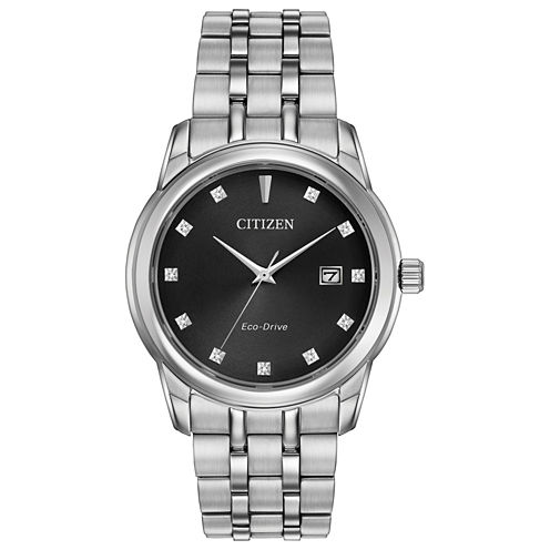 Citizen® Eco-Drive Men's Stainless Steel Watch With Diamond Accents Bm7340-55E