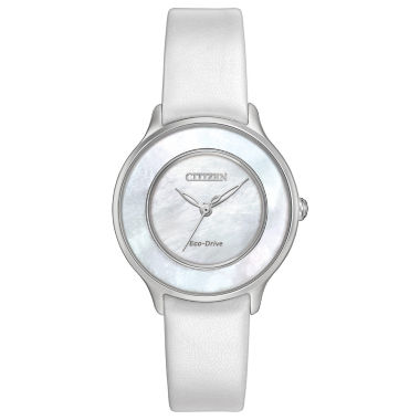 jcpenney.com | Citizen® Eco-Drive Ladies' Stainless Steel Citizen® L Circle Of Time With White Patent Leather Strap Em0381-03D
