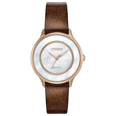 jcpenney.com | Citizen® Eco-Drive Ladies' Rose Gold Tone Citizen® L Circle Of Time With Brown Patent Leather Strap Em0383-08D
