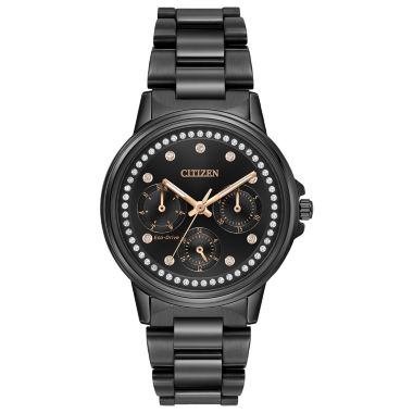 jcpenney.com | Citizen® Eco-Drive Ladies' Black Ion Plated Watch With Swarovski Crystal Accents Fd2047-58E