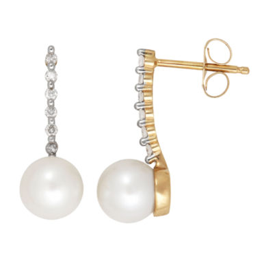 jcpenney.com | Certified Sofia Cultured Freshwater Pearl & Diamond Accent 10K Yellow Gold Earrings