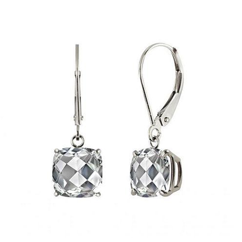 White Topaz Sterling Silver Leverback Dangle Earrings