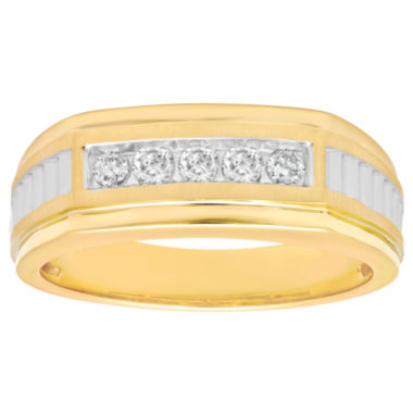 jcpenney.com | Mens 1/4 CT. T.W. Diamond 10K Yellow Gold Wedding Band