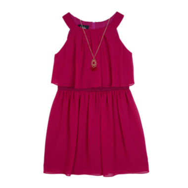 jcpenney.com | Byer® Berry Chiffon A-Line Popover Skater Dress - Girls 7-16