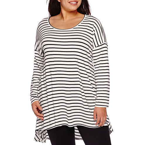 Boutique+ Long-Sleeve Knit Swing Tunic Top - Plus