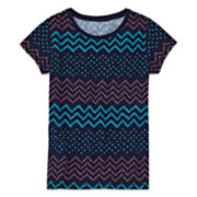 Arizona Short-Sleeve Fave Stripe Tee - Girls 7-16 and Plus