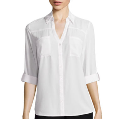 jcpenney.com | by&by 3/4-Sleeve Button-Front Solid Shirt