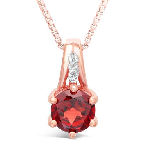 Womens Diamond Accent Red Garnet 10K Gold Pendant Necklace