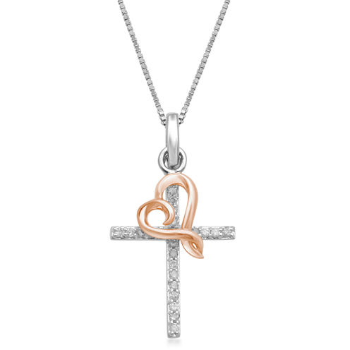 Hallmark Diamonds Womens 1/7 CT. T.W. White Diamond Sterling Silver Gold Over Silver Pendant Necklace