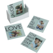 Set of 4 Laugh Love Sentiment Photo Coasters