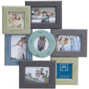 7-Opening Distressed Wood Collage Picture Frame