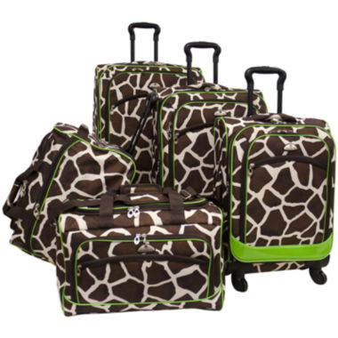 jcpenney.com | American Flyer Animal Print 5-pc. Expandable Spinner Upright Luggage Set