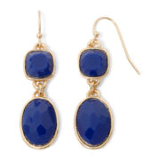 Liz Claiborne® Gold-Tone Blue Double-Drop Earrings