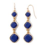 Liz Claiborne® Gold-Tone Blue Linear Earrings