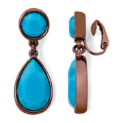 Liz Claiborne® Bronze-Tone Blue Double-Drop Earrings