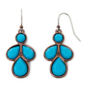Liz Claiborne® Bronze-Tone Blue Drop Earrings