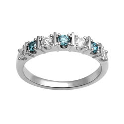 CLOSEOUT! 1/2 CT. T.W. White and Color-Enhanced Blue Diamond Anniversary Ring