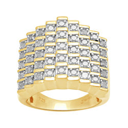 CLOSEOUT! 1 CT. T.W. Diamond 18K Yellow Gold Over Silver Ring