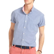 IZOD® Short-Sleeve Slim-Fit Mini-Check Shirt