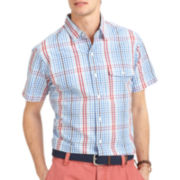 IZOD® Short-Sleeve Slim-Fit Mini-Plaid Shirt