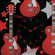 Guitar Rock'n Roll Wall Clock