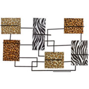 Animal-Print Wall-Mounted Wine Rack Sculpture
