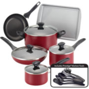 Farberware® 15-pc. Dishwasher-Safe Nonstick Cookware Set-Red