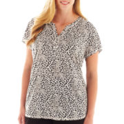 Liz Claiborne® Short-Sleeve Henley Tee - Plus