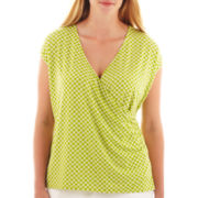 Liz Claiborne® Short-Sleeve Striped Surplice Top - Plus