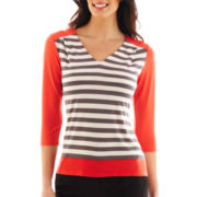 Worthington® 3/4-Sleeve Striped V-Neck Top