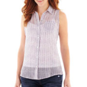 Liz Claiborne Sleeveless Print Blouse with Cami