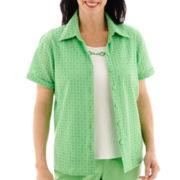 Alfred Dunner® Ocean Drive Short-Sleeve Eyelet Layered Top