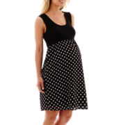 Maternity Sleeveless Knit and Woven Tank Dress