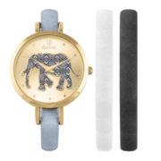 Decree® Girls Black Gold-Tone Elephant Interchangeable Strap Watch