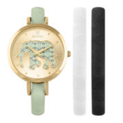 Decree® Girls Mint Gold-Tone Elephant Interchangeable Strap Watch