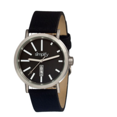 jcpenney.com | Simplify Unisex The 400 Black Leather-Band Watch With Day&Date Sim0401