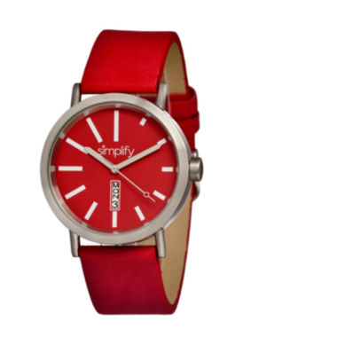 jcpenney.com | Simplify Unisex The 400 Red Leather-Band Watch With Day&Date Sim0403