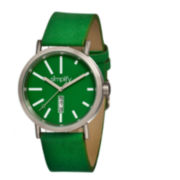 Simplify Unisex The 400 Green Leather-Band Watch With Day&Date Sim0404