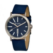 Simplify Unisex The 400 Navy Leather-Band Watch With Day&Date Sim0406