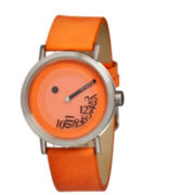 Simplify Unisex The 500 Fallen-Number Orange Leather-Band Watch Sim0505