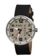 Simplify Mens The 800 Black Leather-Band Grey Dial Watch With Day&Date Sim0801