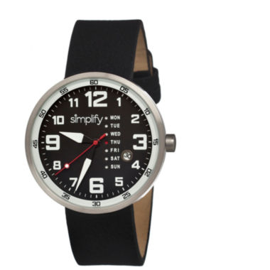 jcpenney.com | Simplify Mens The 800 Black Leather-Band Black Dial Watch With Day&Date Sim0802