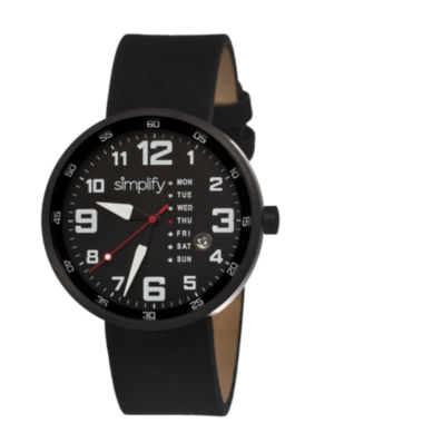 Simplify Mens The 800 Black Leather-Band Watch With Day&Date Sim0804