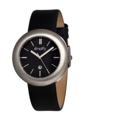 jcpenney.com | Simplify Unisex The 900 Black Leather-Band Watch With Date Sim0902
