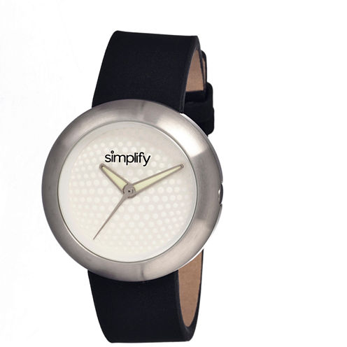 Simplify Unisex The 1200 Silver Dial Black Leather-Band Watch Sim1201