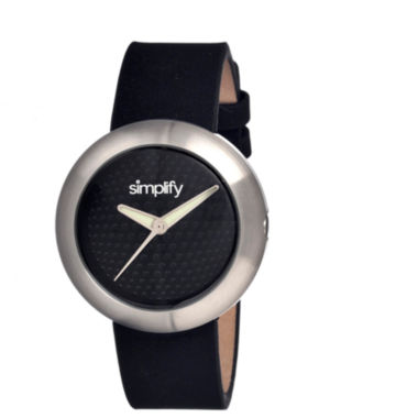 jcpenney.com | Simplify Unisex The 1200 Black Leather-Band Watch Sim1202